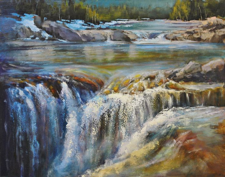 Linda Wilder, Elbow Falls By Bragg Creek, 24 x 30 acrylic, Elbow Falls near Bragg Creek, Alberta (from Arabella Canadian Landscape Competition)