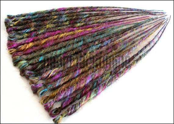 Single ended dread extensions - brown rainbow dreads - set of 20