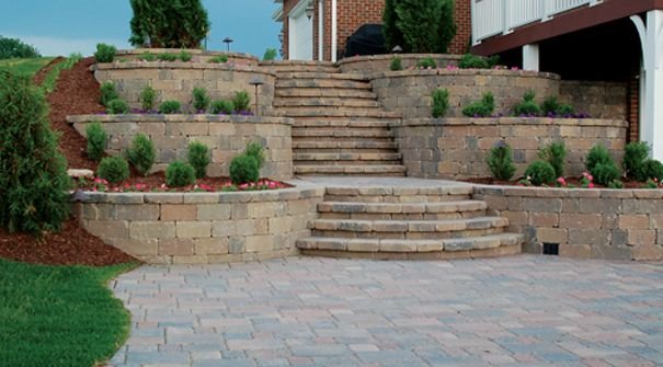 Tiered retaining wall using Keystone Stonegate Country