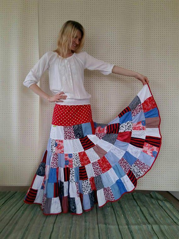 Long nautical patchwork skirt maxi skirt cotton summer