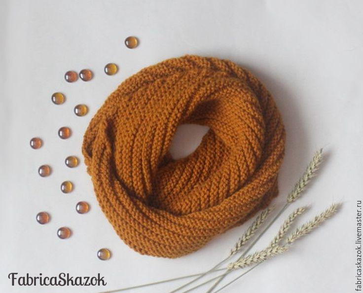 Купить Снуд коричневый бронзовый, вязаный шарф снуд спицами - коричневый, бронзовый, шарф-снуд