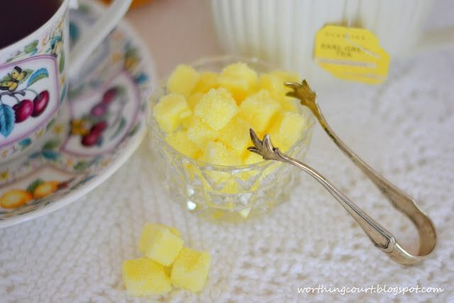 It's ice tea drinking weather!  These easy to make, lemon infused sugar cubes are the perfect addition to a refreshing glass of cold tea.