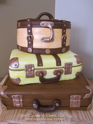 """A suitcase cake made for a library event called """"The Lives They Left Behind."""" I love this...it's so cute I don't think I could cut into it."""