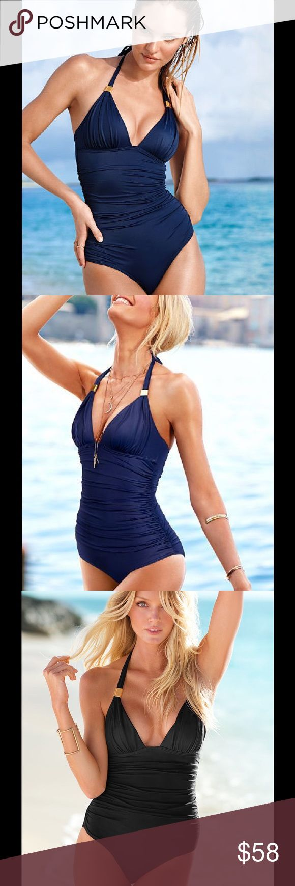 Victorias Secret Forever One Piece Maillot Victorias Secret Forever Navy Blue One Piece Maillot.  Rushing Front And Back for a Slimmer Appearance.  New. Victoria's Secret Swim One Pieces