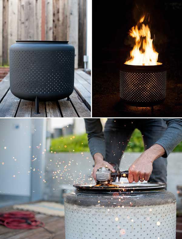 DIY washing machine drum firepit - 27 Best Fire Pit Ideas and Designs | Home DIY Tutorials by Pioneer Settler at http://pioneersettler.com/fire-pit-ideas-designs/