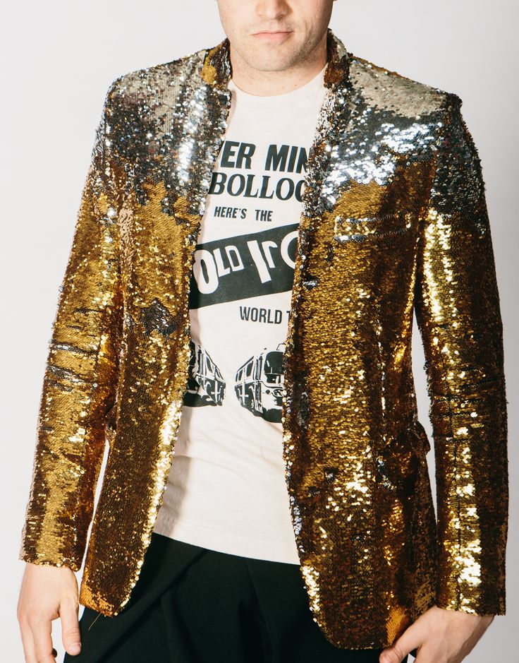 Any Old Iron Gold/Silver Sequin Suit Jacket Reversible Kinetic Sequin Jacket Traditional None Traditional Jacket, all the usual pockets Satin lined Please note we currently only have 38 inch chest in,