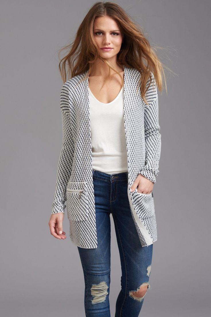 Insta-worthy sweater Jacquard Open Cardigan