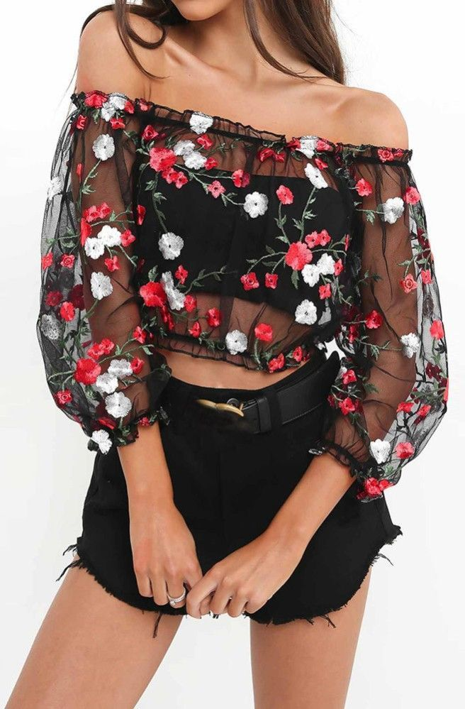 embroidered crop top transparent blouse that are cute af