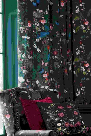 Шторы с цветочным принтом и люверсами Twilight Garden - Покупайте прямо сейчас на сайте Next: Украина