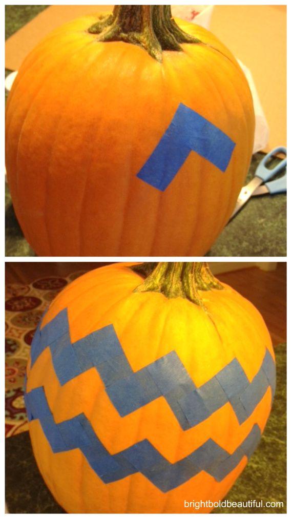 Chevron Pumpkin- fun no carve pumpkin instructions from Bright Bold and Beautiful