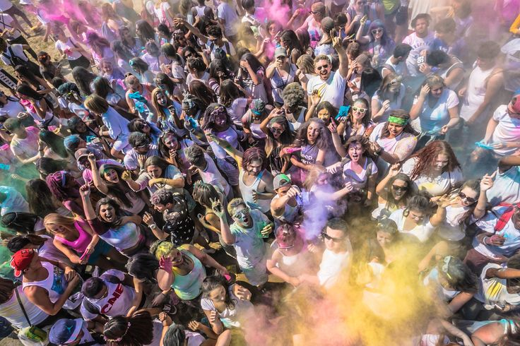 Looking more like the Holi celebrations one would see in India, this is the Festival of Color in Toronto. #Holi #Festivals #Crowds #Youth #Fun #Celebration #India