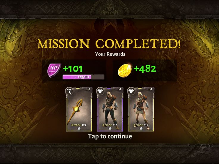Dungeon Hunter 5 by GameLoft - Mission Complete Screen - UI HUD User Interface Game Art GUI iOS Apps Games