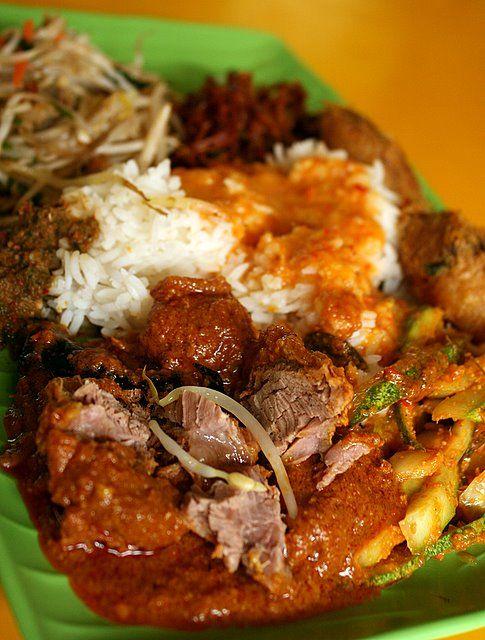 Nasi Padang - rendang, achar, begedil, sambal ikan bilis petai and stirfried beansprouts
