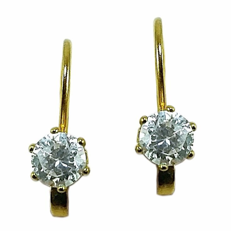White Solitaire Earrings Vintage 4mm Cubic Zirconia Gold Tone Pierced e725 #Unbranded #Huggie