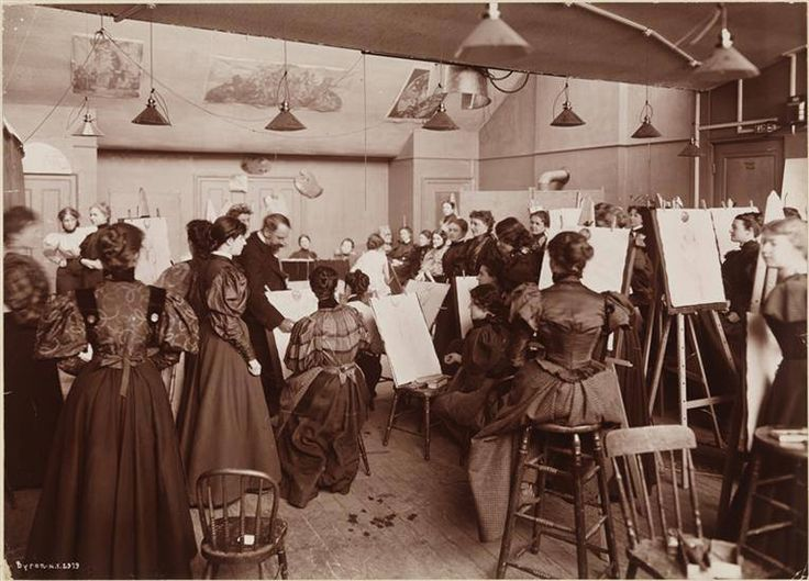 An art class at Chase School of Art; female students drawing from life. 1896 Photo - Byron Company  William Merritt Chase was an American painter, known as an exponent of Impressionism and as a teacher. He is also responsible for establishing the Chase School [1896], which later would become Parsons School of Design [1936] then [2005] Parsons The New School for Design-as of 2015 - The New School's Parsons School of Design.- Wikipedia
