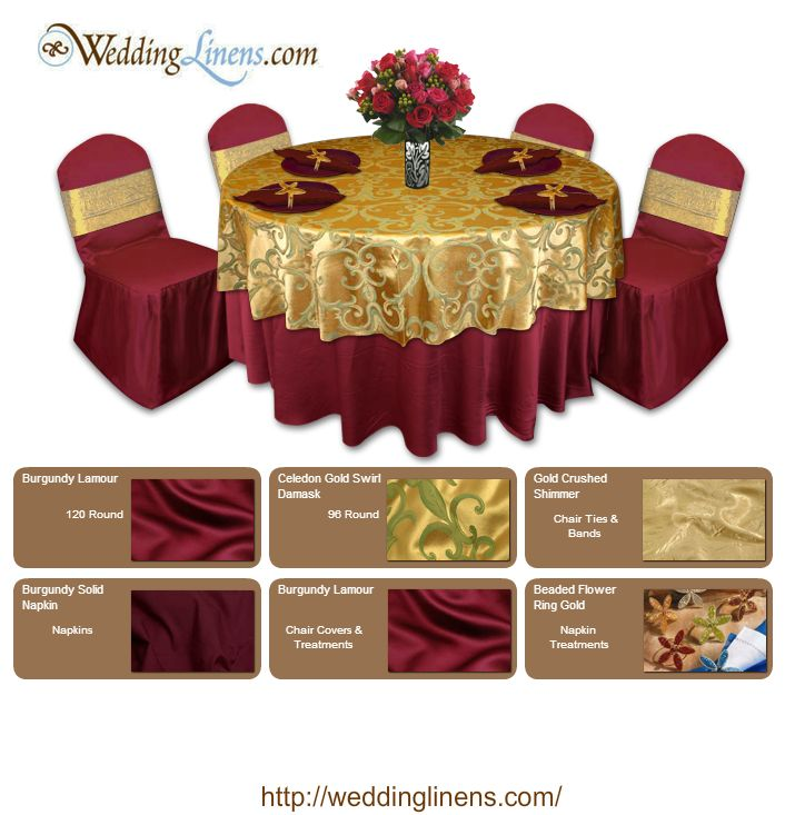 Sophisticated Design For A Wedding, Birthday Or Retirement Party. Colors:  Burgundy And Gold