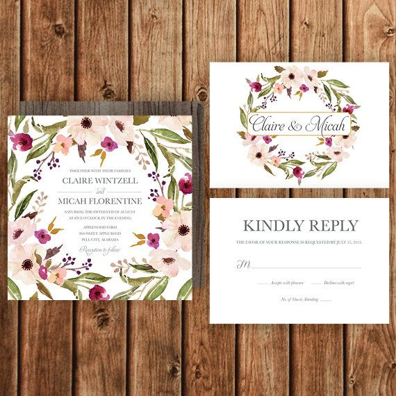 Rustic Wedding Invitation, Blush, Purple, Magenta, Floral, Spring Wedding, Fall Wedding, Woodland, Bohemian, Garden Wedding