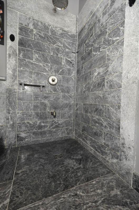 4 X4 Sloped Canadian Soapstone Shower Shower Base Wall