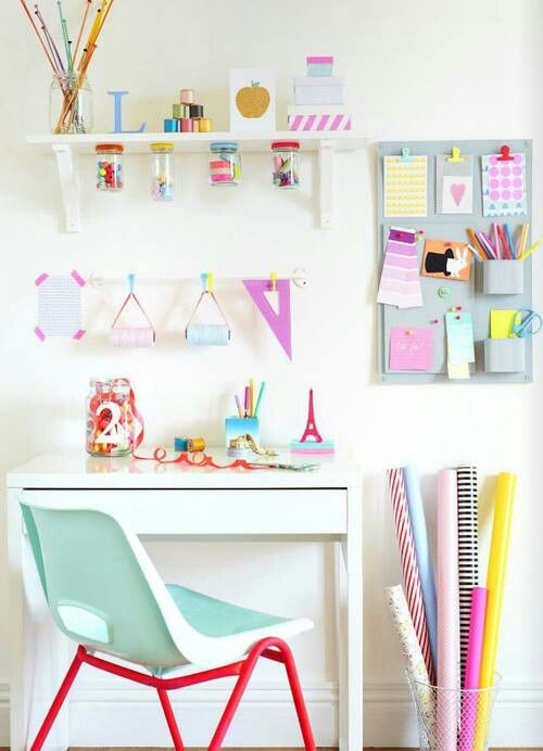 Really cute idea for a craft or teen room.