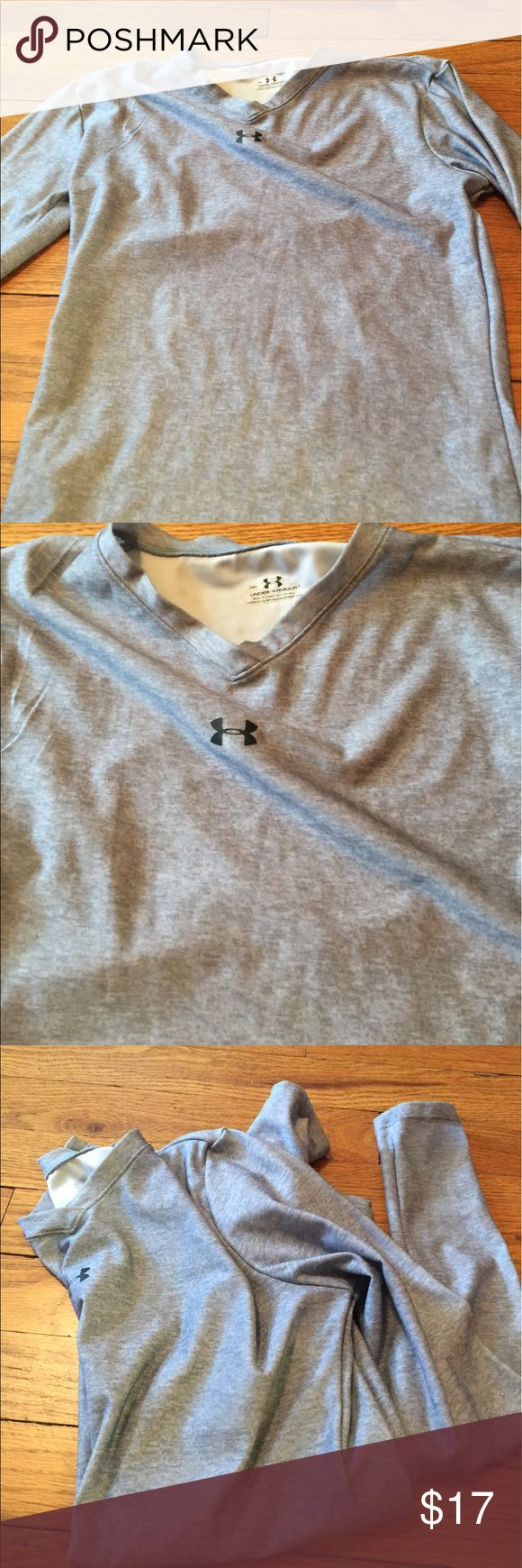 Under Armor silver long sleeve v neck medium I have a green one too, will give good deal for bundle Under Armour Tops Tees - Long Sleeve