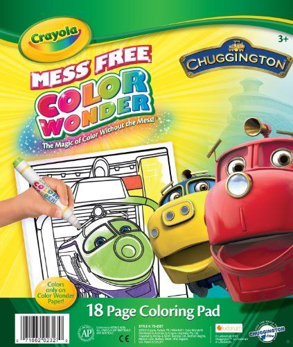 Crayola Color Wonder Chuggington Coloring Pad by Crayola. $6.99. Colors only appear on special Color Wonder Paper. Can be used with Color Wonder Markers and Paint. Refill books feature fun character line art. 18 page color wonder pad. The Magic of color without the mess. From the Manufacturer                Crayola Color Wonder Chuggington Coloring Pad.                                    Product Description                Crayola Color Wonder Chuggington Coloring Pad