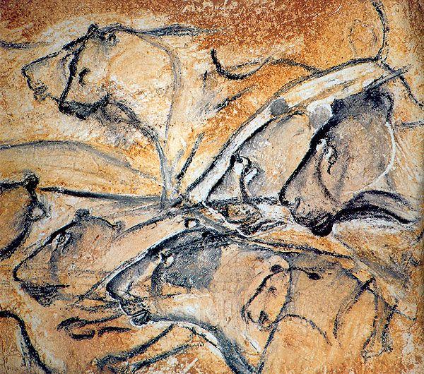 """Peintures de la grotte de Chauvet ( Caverne du Pont d'arc). """"Fresque des Lions"""". Découverte il y a 20 ans. Réalisée il y a 36 000 ans"""