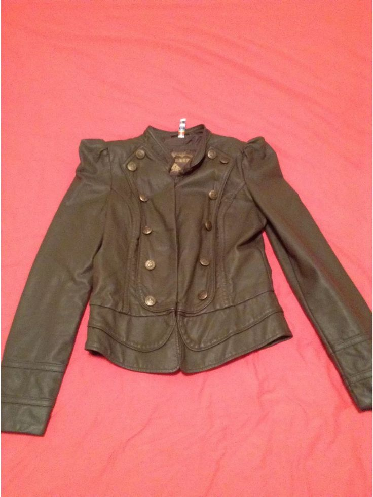 Khaki 'Leather Like' jacket by Denim Co. Ladies size 8. Military style Brass button detailing