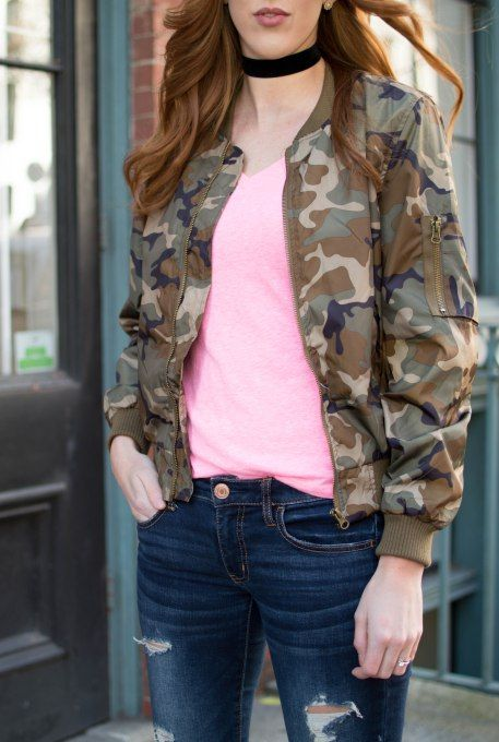 10 Things To Do This Valentines Day - Camo Jacket + Pink Tee + Distressed Denim | Anna Clarke Blog