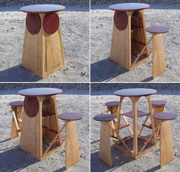 Fold out chairs table