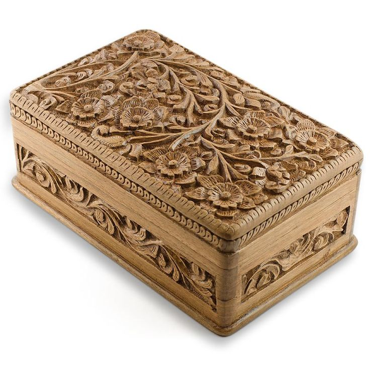 Wooden Jewelry Chest, Hand Carved Walnut Wood Jewelry Box, India