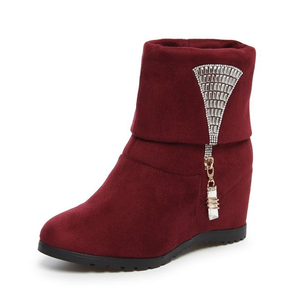 Sale 15% (44.99$) - Women Short Boots Suede Slip On High Heel Crystal Casual Outdoor Shoes