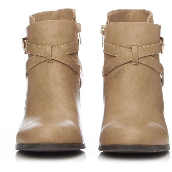 Tan Strap and Buckle Ankle Boot ($61) ❤ liked on Polyvore featuring shoes, boots, ankle booties, ankle boots, zapatos, tan, buckle bootie, tan booties, short boots and bootie boots