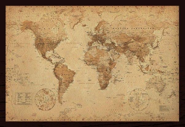 Wereldkaart - Vintage - Ingelijst