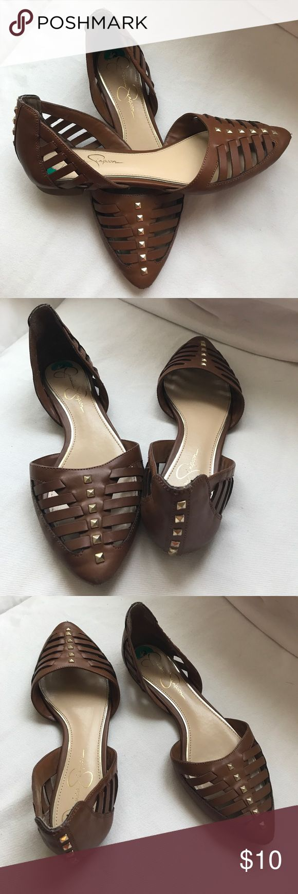 Jessica Simpson 8 flats Wear on front points. Cognac color. Jessica Simpson Shoes