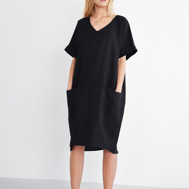 Summer Women V Neck Short Sleeve Pockets Loose Solid Shirt Vestido Casual Cotton Linen Work Dress Plus Size Size S Color Black