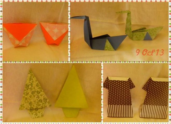 After School Activity: Origami: gelas/mangkok, angsa, cemara, daster