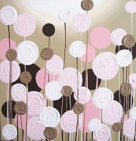 Rosa y marrón vivero arte textura flores por MurrayDesignShop