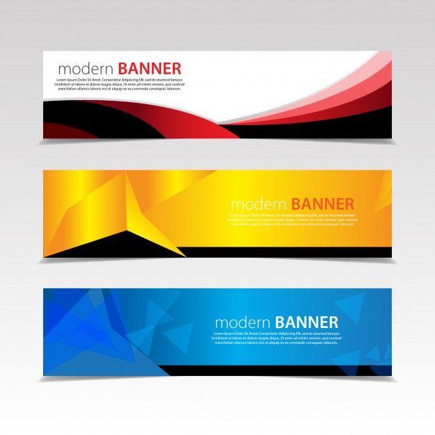 Abstract Banner Design With 3 Sets Of Templates Vector Website Header Banner Header Banner