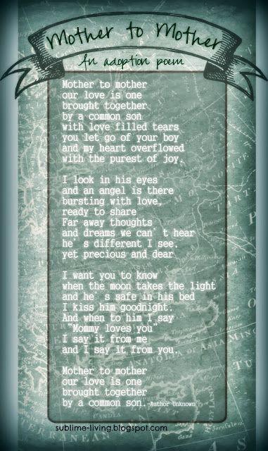 Adoption Poem: Mother to Mother  SUBLIMEliving