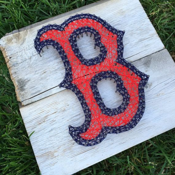 Inspired Boston Red Sox - Nail and String Art sign. Want your favorite sports team?  walkerandcole.com #walkerandcole