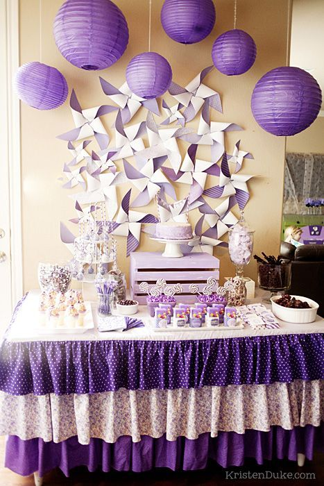 Pin wheels and paper lanterns for a dessert table
