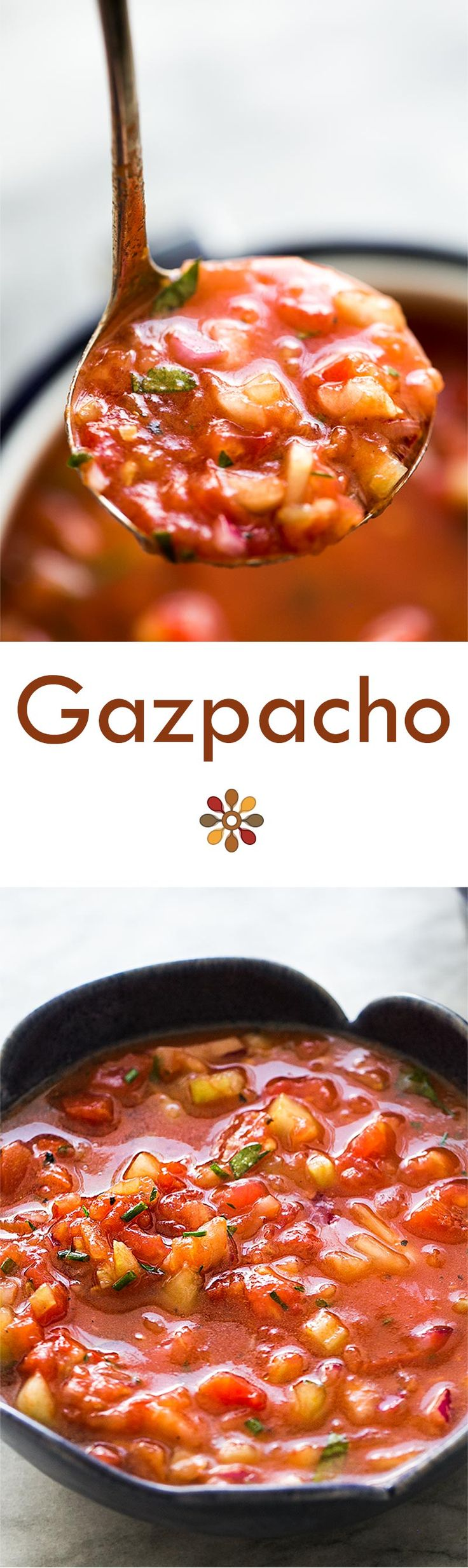 California version of the classic Spanish gazpacho! Chilled soup made with ripe fresh tomatoes, cucumber, bell pepper, celery, and onions. Perfect for a hot summer day! #healthy #vegan On SimplyRecipes.com (Vegan Mexican Soup)