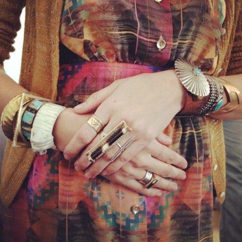 : Arm Candy, Colors Patterns, Bracelets, Gretchen Jones, Bohemian Clothing, Rings, Accessories, The Dresses, Bohemian Style
