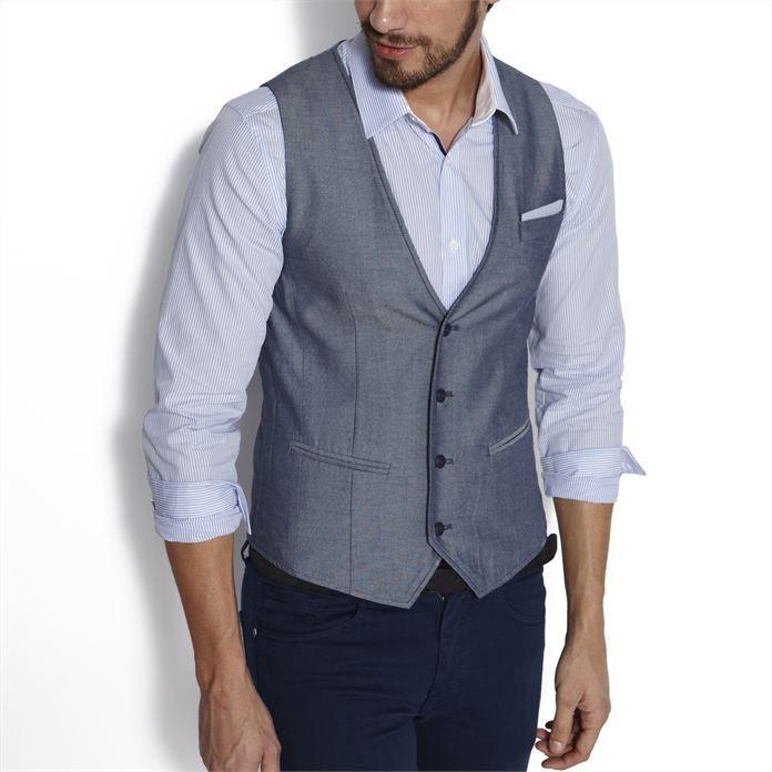 Gilet de costume Bleu Rayé homme – la mode homme sur Jules.com …