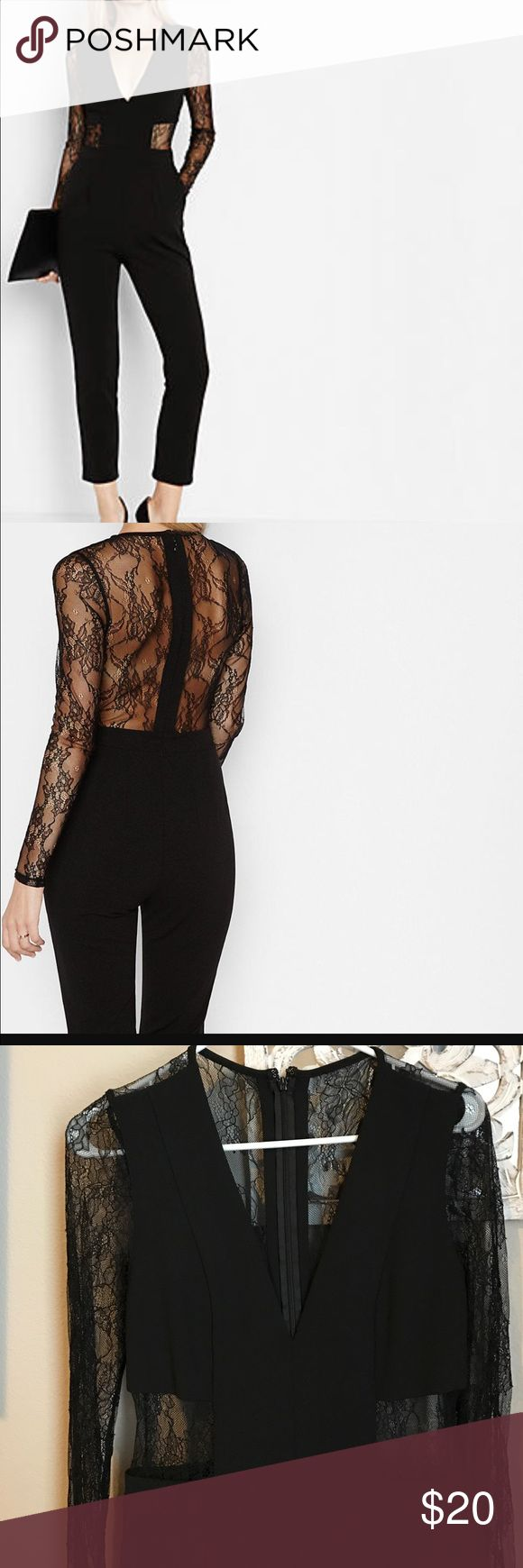 Express jumpsuit Black lace back jumpsuit with sleeve, worn once! Practically new! Express Other