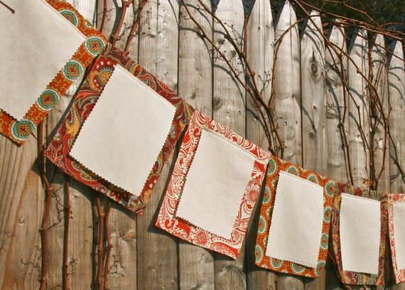 Wish Flags, Thanksgiving Decoration, Reception Banner, Bunting for Birthdays, Autumn Weddings, Baby Shower Party, Fall Garland