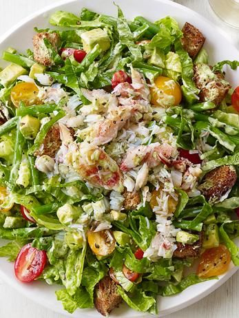 This fresh, California-style Crab and Avocado Salad makes a hearty meal for lunch and dinner--to prevent the lettuce from getting soggy, pack the dressing separately and add it when you're ready to eat.