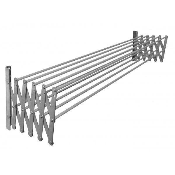 Expandable 18/8 stainless steel clothes airer with 10 aluminium bars