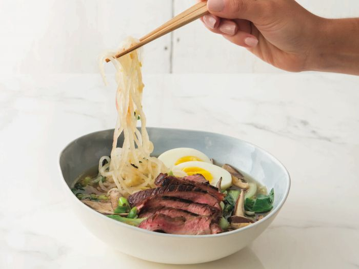 "Daikon ""Ramen"" with Skirt Steak .. uses diakon radish noodles! #glutenfree"