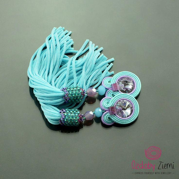 Clip on Tassel Long Mint Lila Soutache Earrings - Long Unique Mint Earrings…